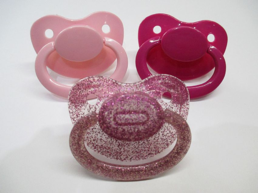 Pink shades of mix & match adult sized large shield/teat pacifier,